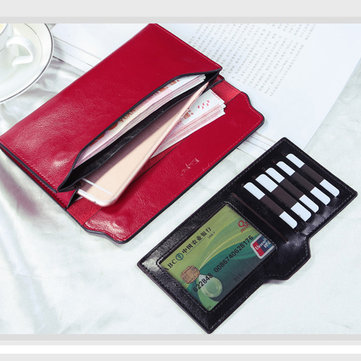 Genuine Leather Women Simple Ultrathin Wallet Purse Card Holder Card Bag