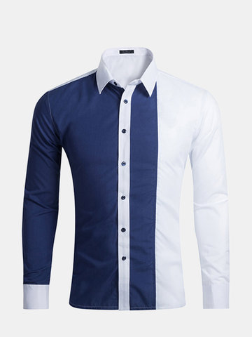 Casual Fashion Business Stitching Mixed Color Slim Fit Long Sleeve Dress Shirts for Men