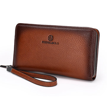 PU Leather Clutch Bag Leisure Vintage Multi-card Slots Wallet Coin Bag For Men