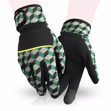 KINEED Men Women Plaid Warm Ski Full Finger Gloves Outdoor Sports Riding Gloves