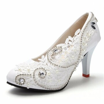 Buy 8cm White Crystal Lace Bead Flower Wedding Bridal High Heels Pumps