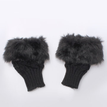 Ladies Rabbit Fur Winter Warmer Knitted Fingerless Gloves от Newchic.com INT