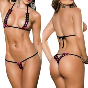 Women Sexy Lace Hollow Out Lingerie Biknii Halter Temptation Thongs Underwear Set