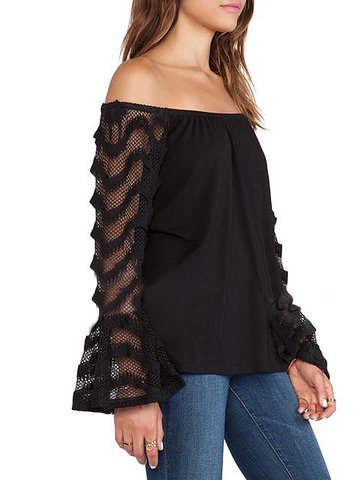 Sexy Women Hollow Lace Patchwork Flare Sleeve Off Shoulder Black T-shirt от Newchic.com INT