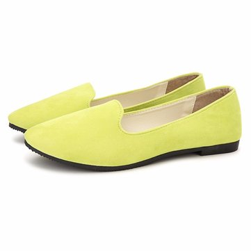 Suede Candy Color Simple Slip On Round Toe Ballet Flat Loafers от Newchic.com INT