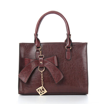 Ladies Vintage Bowknot PU Leather Handbag Shoulder Bag Crossbody Bag