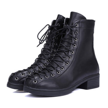 Buy Big Size Thick Heel Boots Trending Round Toe Lace Motorcycle Martin