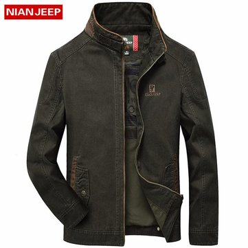 NIAN JEEP Outdoor Casual Cotton Solid Color Stand Collar Long Sleeve Jacket for Men