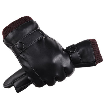 Men Women Full-Finger PU Leather Touch Screen Gloves Thick  Winter Warm Outdoor Windproof Mittens