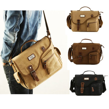Men Canvas Crossbody Bag Durable Shoulder Bag Messengers Bag