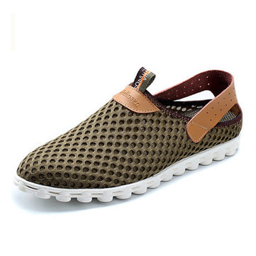Big Size Mesh Breathable Slip On Flat Casual Sport Shoes For Men