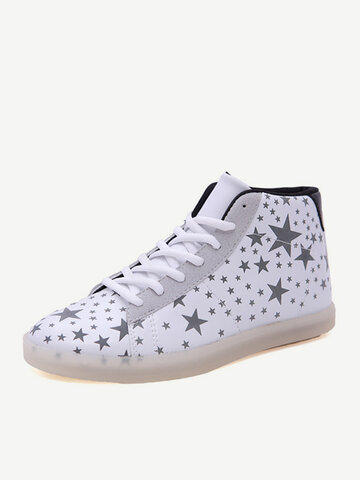 Buy Big Size Fluorescent Light Star High Top Lace Flat Casual Sport Sneakers