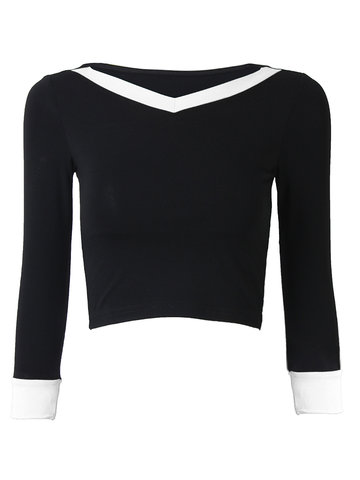 Sexy Long Sleeve V Neck Workout Short Tops for Women