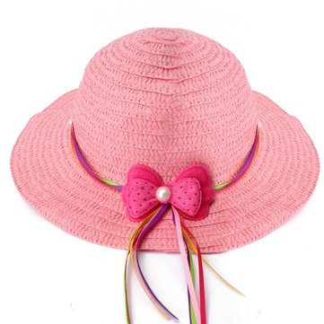Buy Lovely Girls Summer Casual Hollow Cap Beach Sun Straw Hat 6 Candy Color Bow Kids Accessories