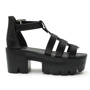Hollow Out Buckle Chunky Heel Fish Mouth Sandals от Newchic.com INT