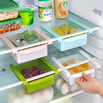 Slide Kitchen Fridge Freezer Space Saver Organizer Storage Rack Shelf Holde Drawer