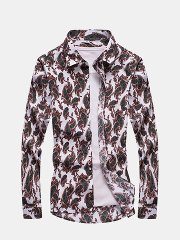 Buy Mens Fall Floral Printing Turndown Collar Long Sleeve Slim Fit Casual Shirts