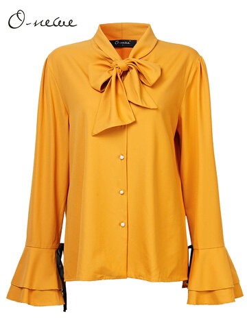 Buy O-NEWE Elegant Solid Bowtie Flare Sleeve Party Blouse Women