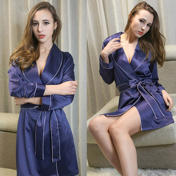 Sexy Elegant Soft Silk-like Thin Bathrobe Sleepwear Women