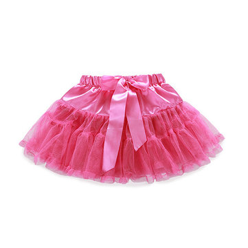 Baby Girls Pure Color Bowknot Mini Skirt