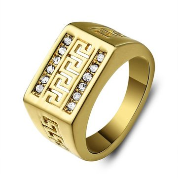 Buy Cubic Rhinestone Hollow Great Wall Ring