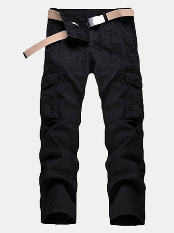 Buy Mens Cotton Cargo Pants Loose Fit Solid Color Multi-pocket Casual Trouser