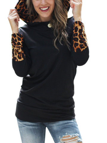 Long Sleeve Leopard Women Casual Sweatshirt Hoodie