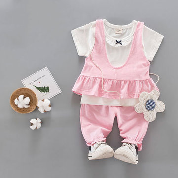 Cute Baby Girls Short Sleeves T-shirts Three-piece Outfits