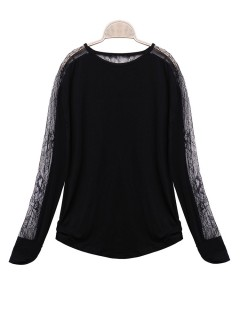 Sexy Women Loose Plus Size Batwing Sheer Lace Long Sleeve Blouse