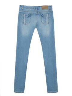 Casual Pale Hole Mid Waist Women Denim Jean