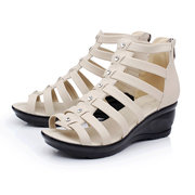 Pure Color Button Strappy Bandage Peep Toe Zipper Ankle Wedge Heel Sandals