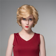 Short Fluffy Virgin Human Hair Wigs Remy Mono Top Capless Full wig Side Bang 8 Colors