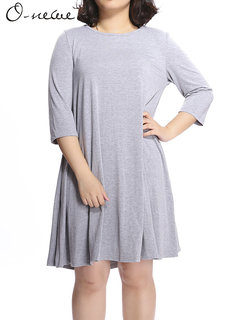 O-Newe Loose  Pure Color Back Bow Mini Dress For Women