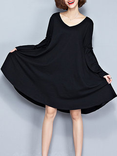 Long Flare Sleeve Pure Color Loose Women Dress