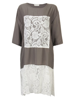 Lace Patchwork O-Neck Half Sleeve Loose Shirt Dress