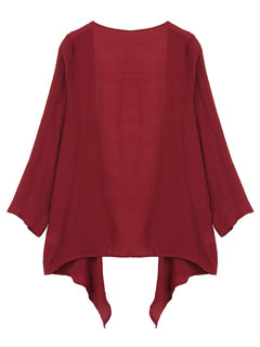 Casual Ruffle Long Sleeve Pure Color Cardigans For Women