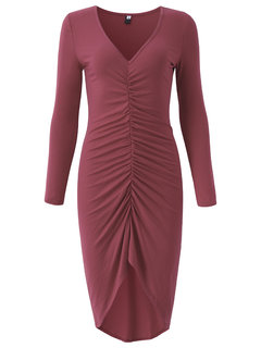 Sexy Women V-Neck Long Sleeve Package Hip Dovetail Dress