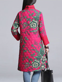 Women Vintage Stand Collar Floral Printed Plate Buckles Long Sleeve Coat