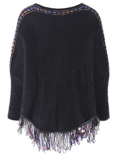 Women Long Batwing Sleeve Tassels Knit Pullover Sweater