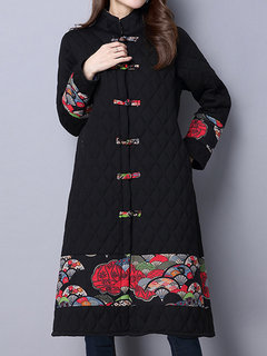 Vintage Women Floral Printed Stand Collar Plate Buckle Thicken Coat