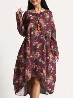Vintage Women Long Sleeve Floral Printed High Low Autumn Dress
