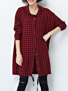 Casual Women Plaid Long Sleeve Letter Printed Hooded Blouse