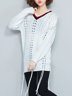 Hollow Out Long Sleeve White Preppy Style Women Knit Sweater