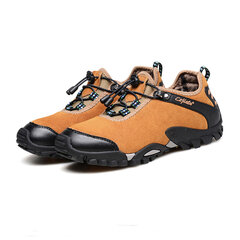 Large Size Cow Split Leather Hiking Shoes Casual Sneakers for Men