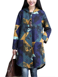 Abstract Print Hooded Single Button Thick Long Women Coat