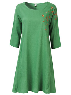 Embroidery Women 3/4 Sleeve O Neck Loose Vintage Dress