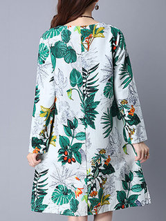 Floral Printed Long Sleeve O Neck Vintage Dress For Women