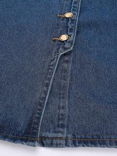 Женщины однобортный завышенной талией Карманный щелевая Denim Midi юбка