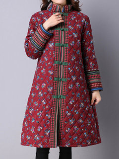 Ethnic Women Floral Printed Plate Buckles Thicken Cotton Trench Coat