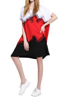 Women Casual Color Block Short Sleeve Linen Mini Dress